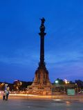 Eine Statue von Columbus am Sonnenuntergang #2 Stockbild