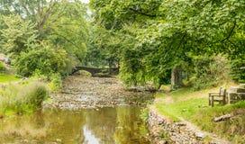 Eine Steinbuckelbrücke über einem Fluss lizenzfreies stockbild