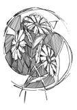Eine stilisierte Zeichnung von Gänseblümchen Stockbilder