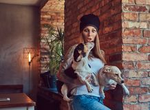 Eine stilvolle tattoed blonde Frau im T-Shirt und in den Jeans hält zwei nette Hunde Lizenzfreies Stockbild