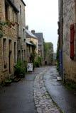 Eine Straße der mittelalterlichen Stadt das Schloss von Sainte Suzanne lizenzfreies stockfoto