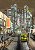 Eine Straße der Nachtstadt mit Taxi, Leuten und Auto Stock Abbildung