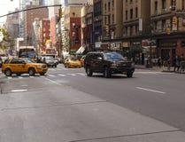 Eine Straße in der Stadtmitte von New York City Lizenzfreies Stockfoto