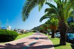Eine Straße mit Palmen nahe dem Hafen von Alanya Lizenzfreie Stockbilder