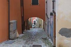 Eine Straße in Verucchio, Italien lizenzfreie stockfotos