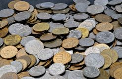 Eine Streuung von Münzen 1, 5, 10 russische Kopeken Stockbilder