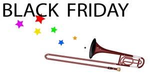 Eine symphonische Posaune, die Black Friday-Flagge durchbrennt Lizenzfreie Stockfotografie