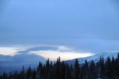 Eine Szene des verschneiten Winters mit fallendem Schnee von der Karpatenregion, Ukraine, Europa Stockfotos