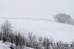 Eine Szene des verschneiten Winters mit fallendem Schnee von der Karpatenregion, Ukraine, Europa Lizenzfreies Stockfoto