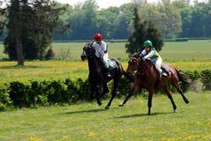 Eine Szene eines Pferdenrennens Stockbilder