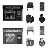 Eine Tabelle mit alten Dokumenten, Bücherregale, Ordner, ein Besucher Eine Bibliothek und Ikonen einer gesetzten Sammlung der Buc Lizenzfreie Stockfotografie