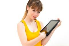 Eine Tablette in der Hand anhalten lizenzfreies stockbild