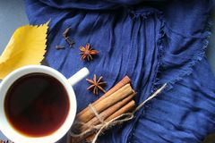 Eine Tasse Tee auf einem blauen Schal, Gewürzen Anis und Zimt, gelbes Herbstblatt stockfotos