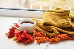 Eine Tasse Tee auf Fensterbrett Stockfotos