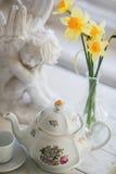 Eine Tasse Tee, Blumen Stockbild