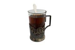 Eine Tasse Tee im silbernen Becherhalter Lizenzfreie Stockbilder