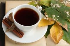Eine Tasse Tee mit einem Buch Stockfotos