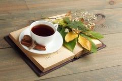 Eine Tasse Tee mit einem Buch Lizenzfreies Stockfoto