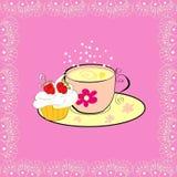 Eine Tasse Tee mit kleinem Kuchen Lizenzfreies Stockbild