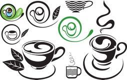Eine Tasse Tee. Zeichen. Das stilisiert Schwarzweiss Stockfoto