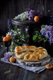 Eine Torte mit frischen Aprikosen stockbilder