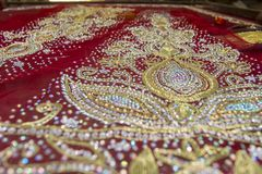 Eine traditionelle Jamdani-Sarinahaufnahme Stockfotografie