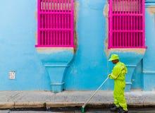 Eine typische Ansicht von Cartagena Kolumbien lizenzfreies stockbild