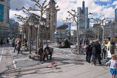 Eine typische Atmosphäre bei Ziel Frankfurt Lizenzfreies Stockfoto