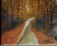 Eine ursprüngliche Acrylmalerei eines Herbstweges mit den Orange und Rotblättern Lizenzfreie Stockfotos