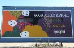 Eine ursprüngliche Reihe Amazonas gute Mädchen-Aufruhrwerbung in Brooklyn Stockbilder