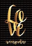 Eine Valentinsgruß ` s Tageskarte mit schwarzen Hintergrund- und Golddekorationen lizenzfreie abbildung