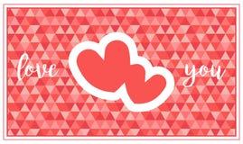 Eine Valentinsgruß ` s Tageskarte mit zwei Herzen und Gruß stock abbildung