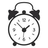 Eine Vektorillustration des einfachen schwarzen Weckers lokalisiert auf weißem Hintergrund Altes, modernes Uhrschattenbild lizenzfreie abbildung