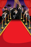 Hintergrund des roten Teppichs und der Paparazzi Lizenzfreie Stockfotos
