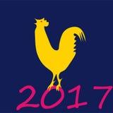 Eine Vektorillustration des Jahres des Hahndesigns für Feier des Chinesischen Neujahrsfests Stockfotos