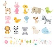 Eine Vektorillustration von verschiedenen Karikaturen der wilden Tiere Lizenzfreie Stockbilder