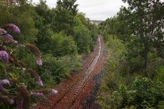 Eine verlassene Eisenbahnlinie in Schottland unter dem Regen lizenzfreie stockfotos