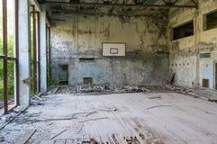 Eine verlassene Turnhalle in Tschornobyl Stockfotos
