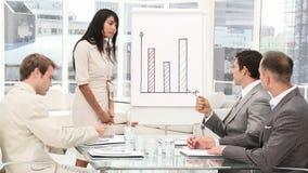 Eine verschiedene Geschäftsgruppe in einer Sitzung stock video footage