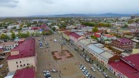 Eine Vogelperspektive der Straße der Stadt von Ulan-Ude, Russland, Republik von Burjatien stock footage