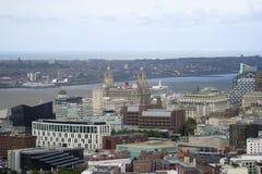 Eine Vogelperspektive von Liverpool schauend Nordwest Lizenzfreie Stockfotografie
