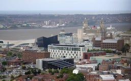 Eine Vogelperspektive von Liverpool schauend Nordwest Lizenzfreie Stockbilder