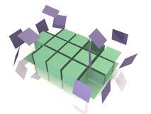 Eine Würfelreihe fällt auseinander - abstraktes Bild 3d Lizenzfreies Stockfoto