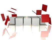 Eine Würfelreihe fällt auseinander - abstraktes Bild 3d Stockfotografie