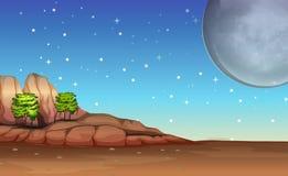 Eine Wüste unter dem hellen Vollmond und den funkelnden Sternen stock abbildung