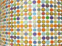 Eine Wand der lächelnden Gesichter Stockbild