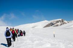 Eine Wanderung im Winter lizenzfreie stockbilder