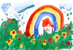 Eine Wasserfarbe eigenhändig zeichnen Stockbilder