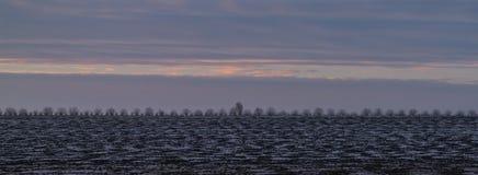 Eine weiße Landschaft eines Geländes, das im Schnee bedeckt wird Lizenzfreie Stockfotografie