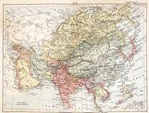 Eine Weinlesekarte von Asien in der Farbe von einer Weinlesebuch Enzyklopädie vektor abbildung